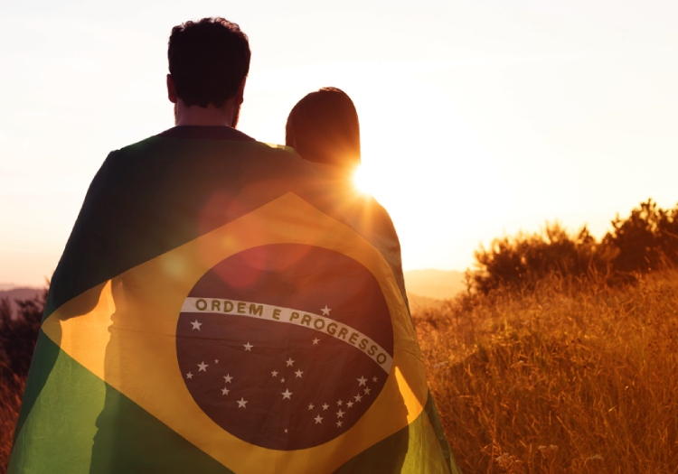 A couple with Brazilian flag