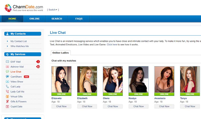 CharmDate.com profiles