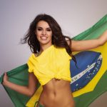 Pretty girl with Brazilian flag